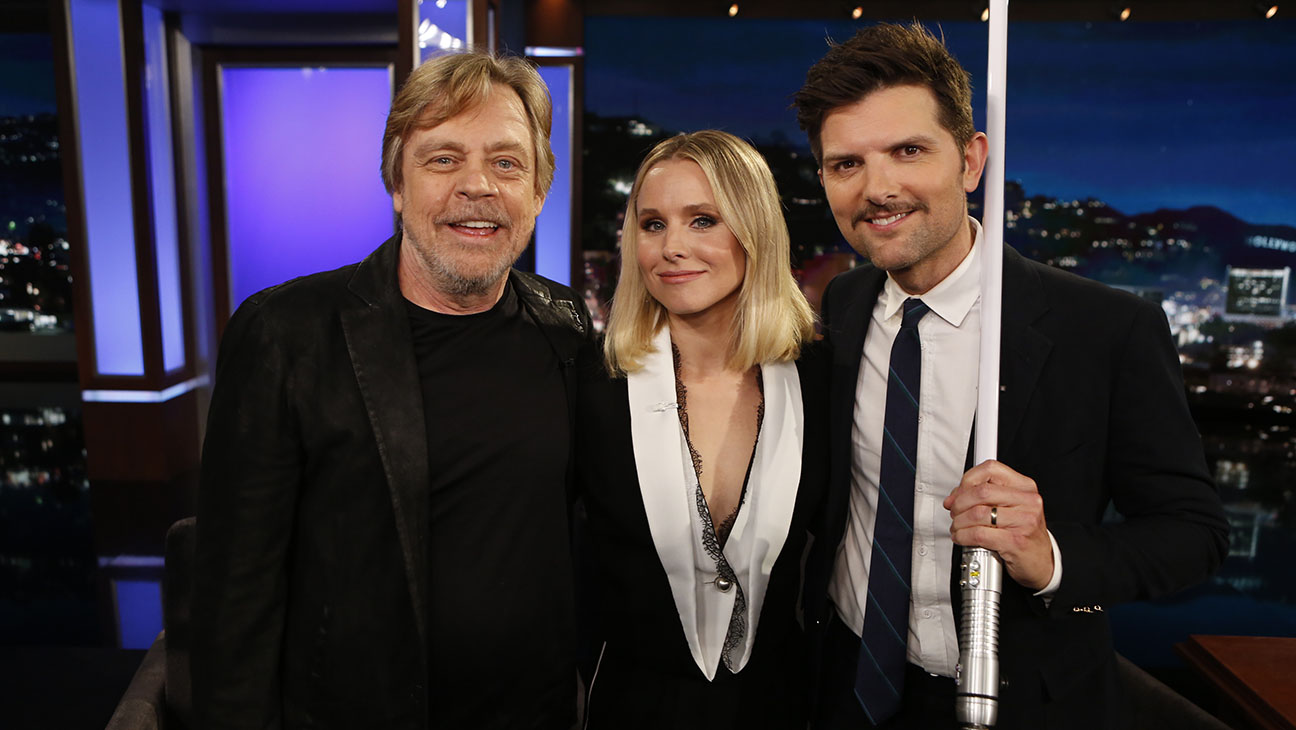 7. Adam Scott invited Mark Hamill to his birthday party when he was two years old. Mark Hamill apologized for not showing up and surprised Adam Scott on 'Jimmy Kimmel Live' instead.