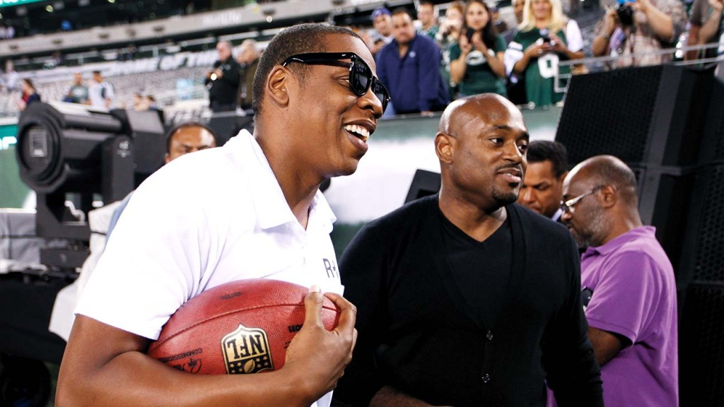 Jay-Z and Stoute (right) before the September 2011 NFL seasonopening game at MetLife Stadium in New Jersey.