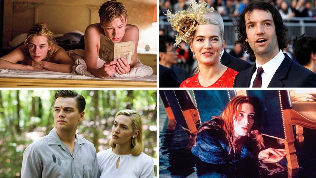 Clockwise from top left: Winslet with David Kross in a scene from the 2008 Stephen Daldry-helmed feature 'The Reader'; Winslet and her husband, Edward Abel Smith, at Hong Kong's Shatin race track in December 2012; Winslet in 'Titanic'; Leonardo DiCaprio and Winslet in the 2008 drama 'Revolutionary Road,' directed by Winslet's second husband, Sam Mendes.