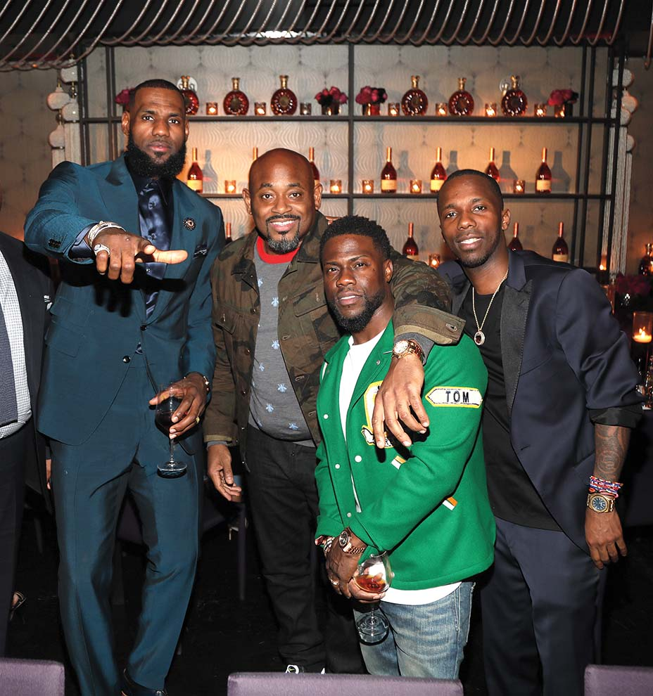 """LeBron James, Stoute, Kevin Hart and Rich Paul at a February 2018 Klutch Sports Group """"More Than a Game"""" dinner in Los Angeles."""