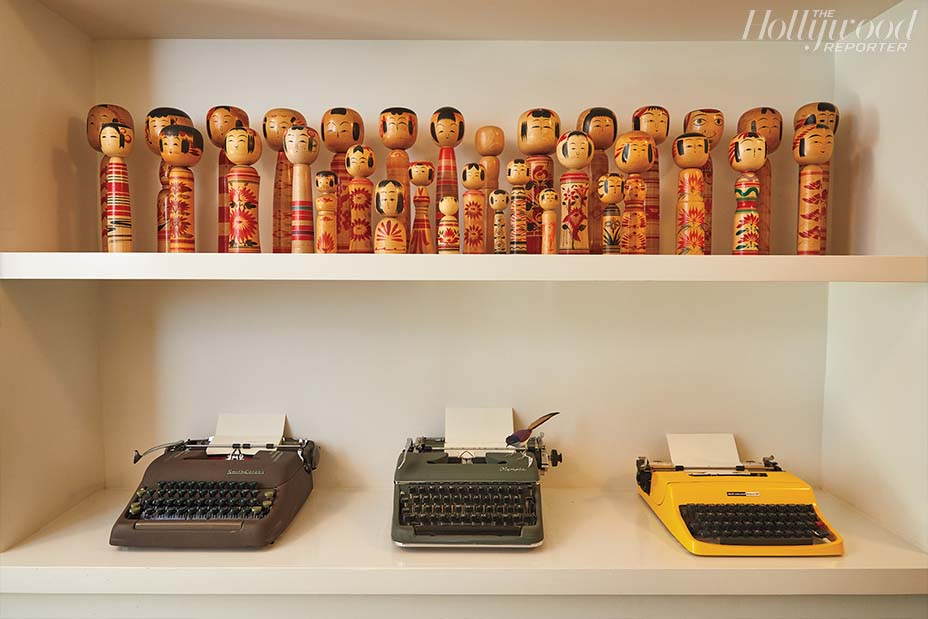 """An """"old-school letter writer,"""" Nishimura collects typewriters and Kokeshi dolls. She made this pot; the hobby, she says, centers her."""