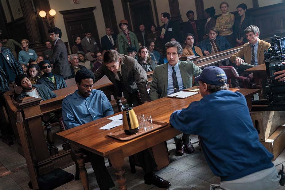 (On the set, from left) Yahya Abdul-Mateen II, Mark Rylance, Ben Shenkman, Aaron Sorkin and Eddie Redmayne.