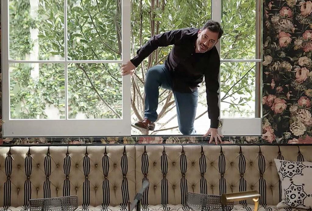 Jimmy Kimmel Climbs Through Window