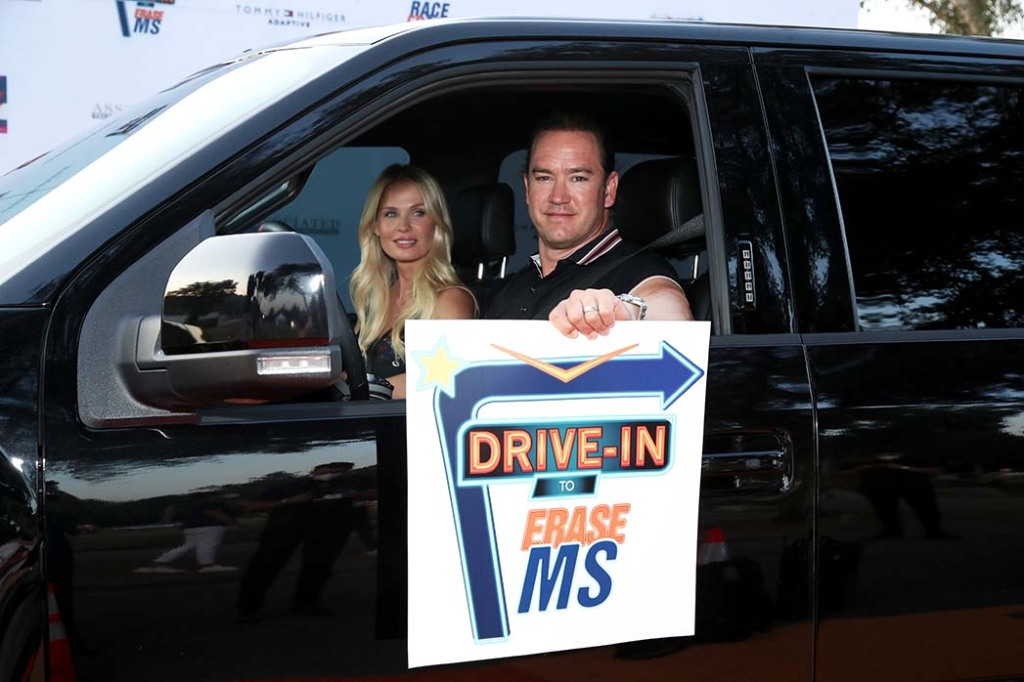 Catriona McGinnand and Mark-Paul Gosselaar attend the 27th Annual Race To Erase MS: Drive-In To Erase MS at Rose Bowl on September 04, 2020 in Pasadena, California.