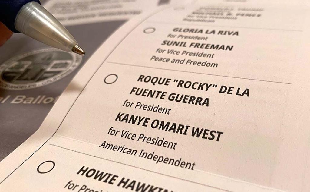 California ballot 2020 US presidential election -Kanye West