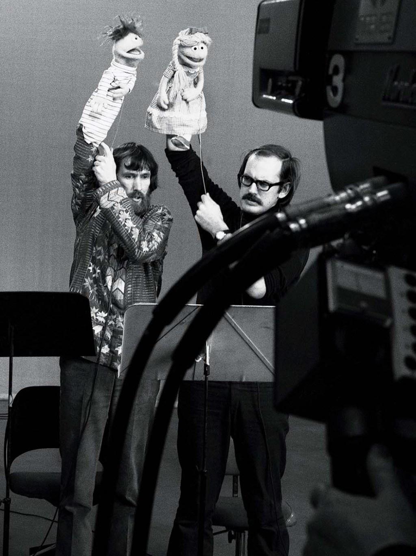 "Jim Henson (left) and collaborator Frank Oz at a 1970 ""Sesame Street"" rehearsal."