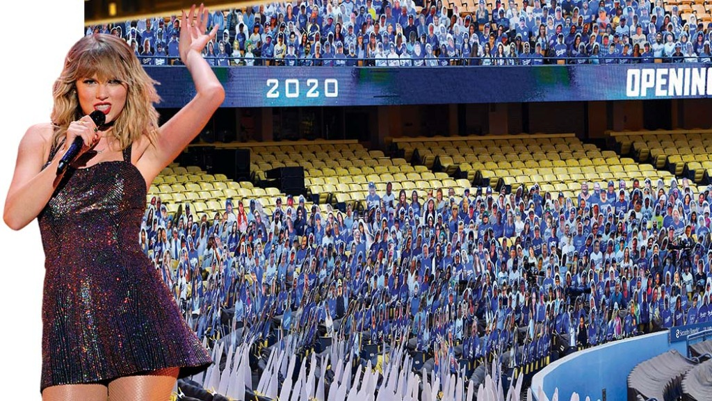 Taylor Swift's SoFi performance was postponed, and Dodger Stadium used cardboard fans to fill its empty seats.
