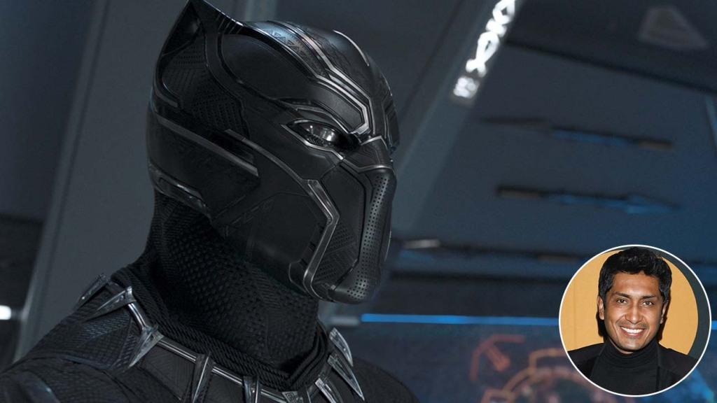 Black Panther with a circle inset of Tenoch Huerta