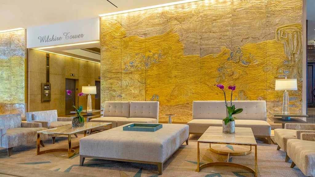 The newly renovated lobby at the Beverly HIlton.