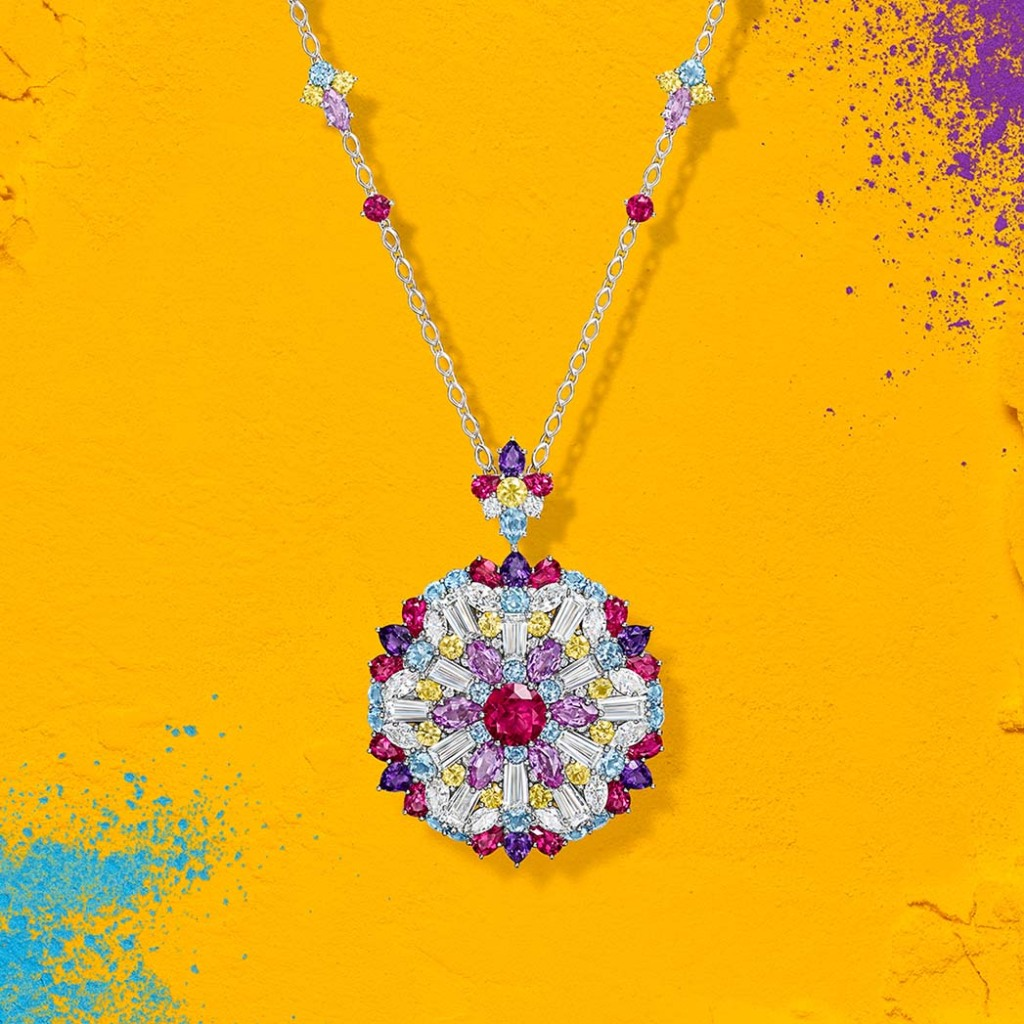 The Pink Rubellite Pendant in Harry Winston's new Kaleidoscope collection.