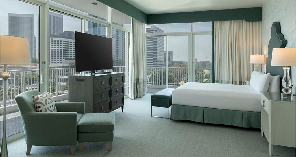 A newly renovated Penthouse Collection King bedroom at the Beverly Hilton.