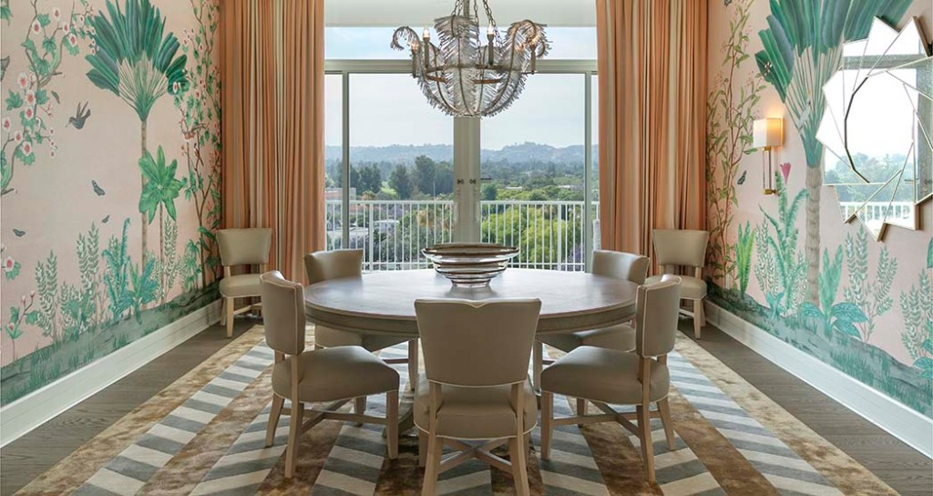 The dining room of the Presidential Suite at the Beverly Hilton.