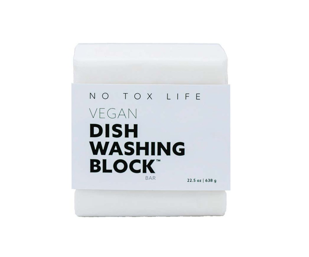 Dish Soap Bar No Tox Life's palm oil-free, organic bar can replace the use of plastic-bottled liquid dish soap; 6-ounce bar, $9, notoxlife.com