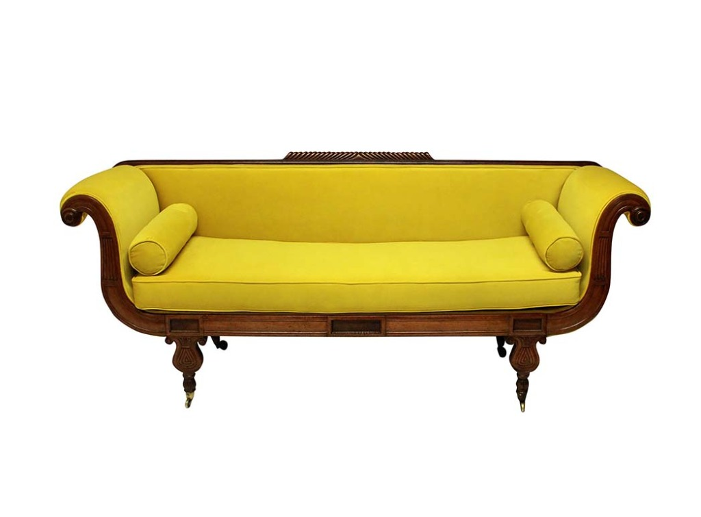 Regency daybed in chartreuse velvet, $5,034; all items available at 1stDibs.com.