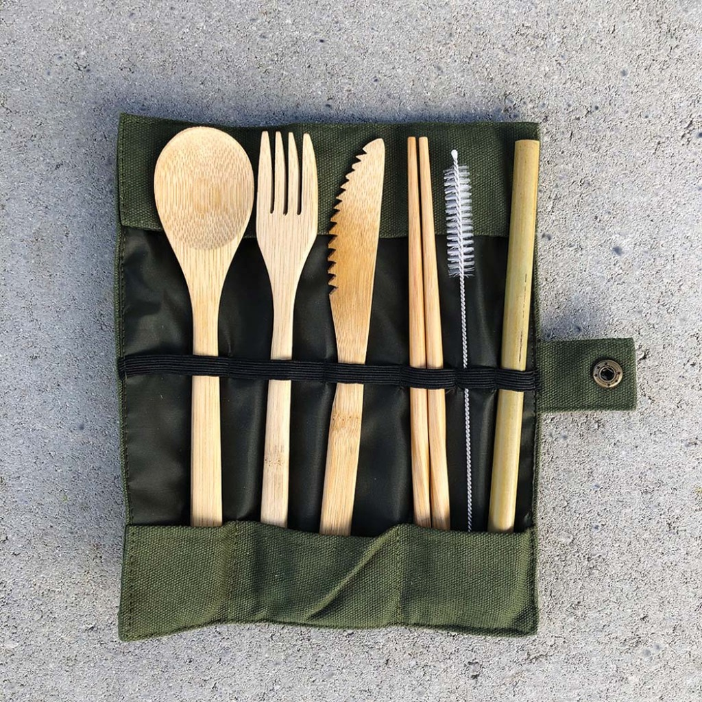 Reusable Bamboo Cutlery, Easy-to-pack utensil set in bamboo also includes chopsticks and a straw. (Plastic cutlery is rarely recycled.) $12, prostainable.com