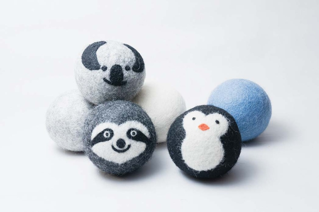 Eco Dryer Ball , Using Friendsheep's wool dryer balls to soften laundry eliminates the need for single-use dryer sheets; $16 for a pack of four, withoutwasteshop.com