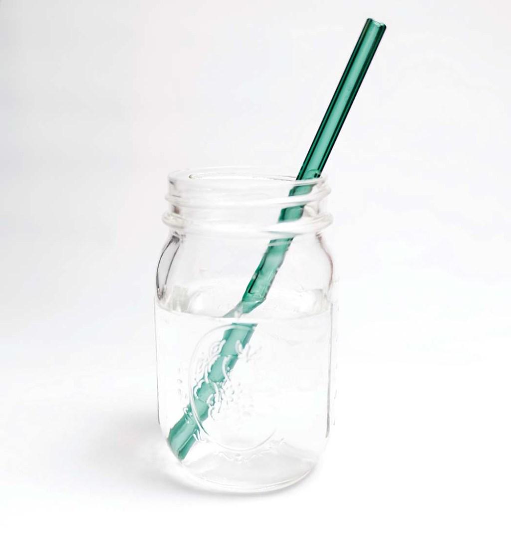 Glass Straw, Handcrafted, dishwasher-safe teal glass straw by Simply Straw; $9, withoutwasteshop.com