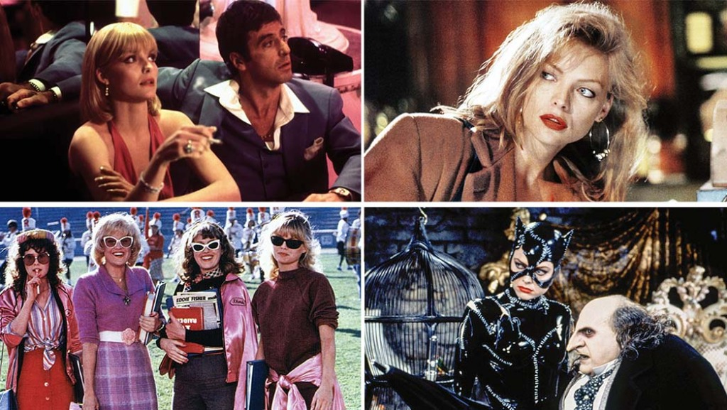 Some of Pfeiffer's memorable roles (clockwise, from top left): Scarface, The Fabulous Baker Boys, Batman Returns and Grease 2.