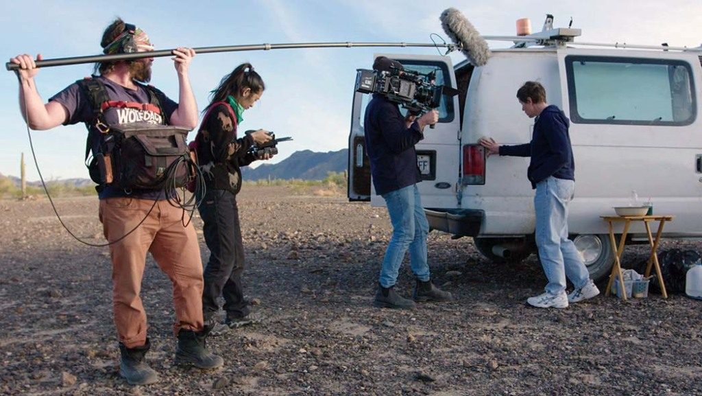 Filming McDormand as Fern, an itinerant worker, outside the van that serves as her home on the road.
