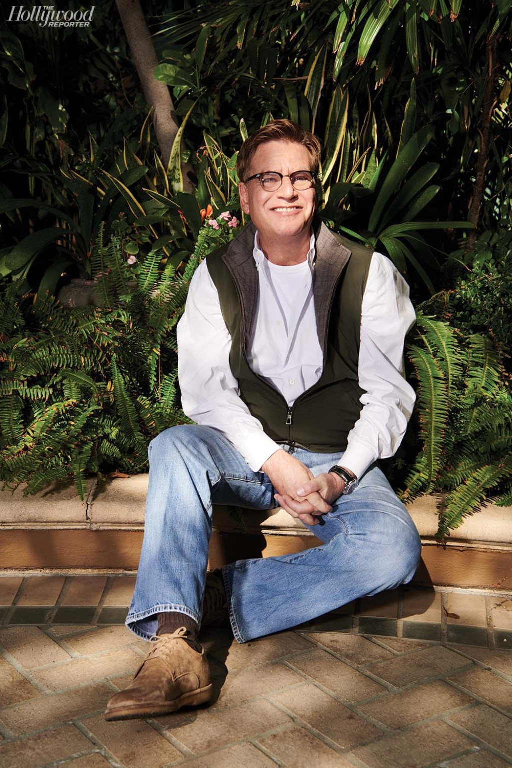 """""""I need four walls really badly. The idea of going outdoors scares me in a script."""" Aaron Sorkin was Photographed by Peter Yang on Jan. 6 at the Four Seasons in Beverly Hills."""