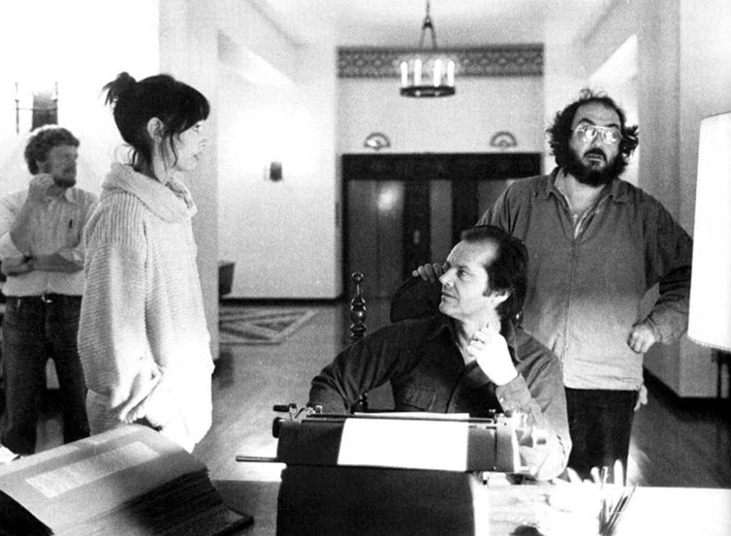 """From left: Duvall, Nicholson and Stanley Kubrick shooting 1980's The Shining. """"We were up on scaffolding,"""" Duvall recalls of the elaborate set. """"We were up three stories high."""""""