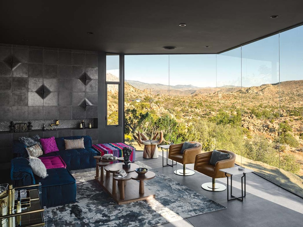The two-bedroom Black Desert House (featuring floor-to-ceiling windows and a disappearing-edge pool) in Yucca Valley also is part of the Homestead Modern portfolio, from $2,400 a night.