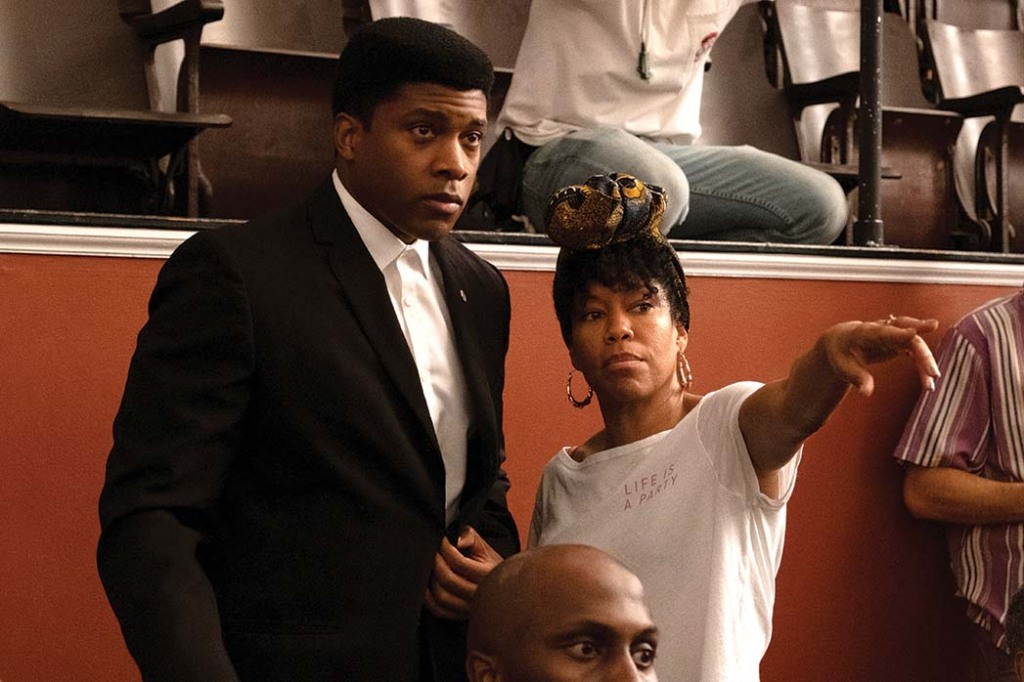 Director Regina King with Eli Goree on the set of ONE NIGHT IN MIAMI