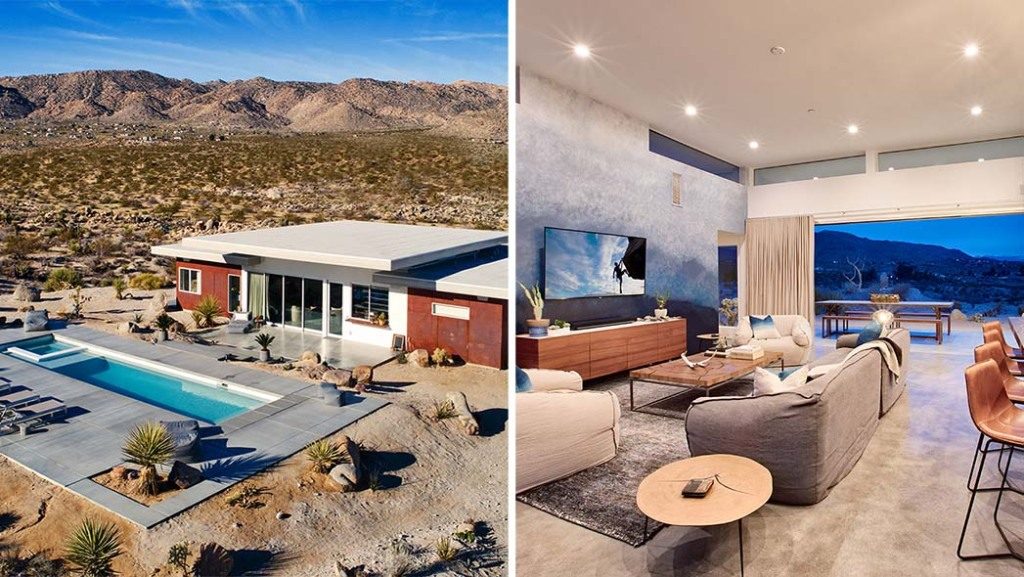 The SkyHouse in Joshua Tree, which was used as a location in the film 'Palm Springs' and Inside the SkyHouse; interior design by Vanessa Schreiber.