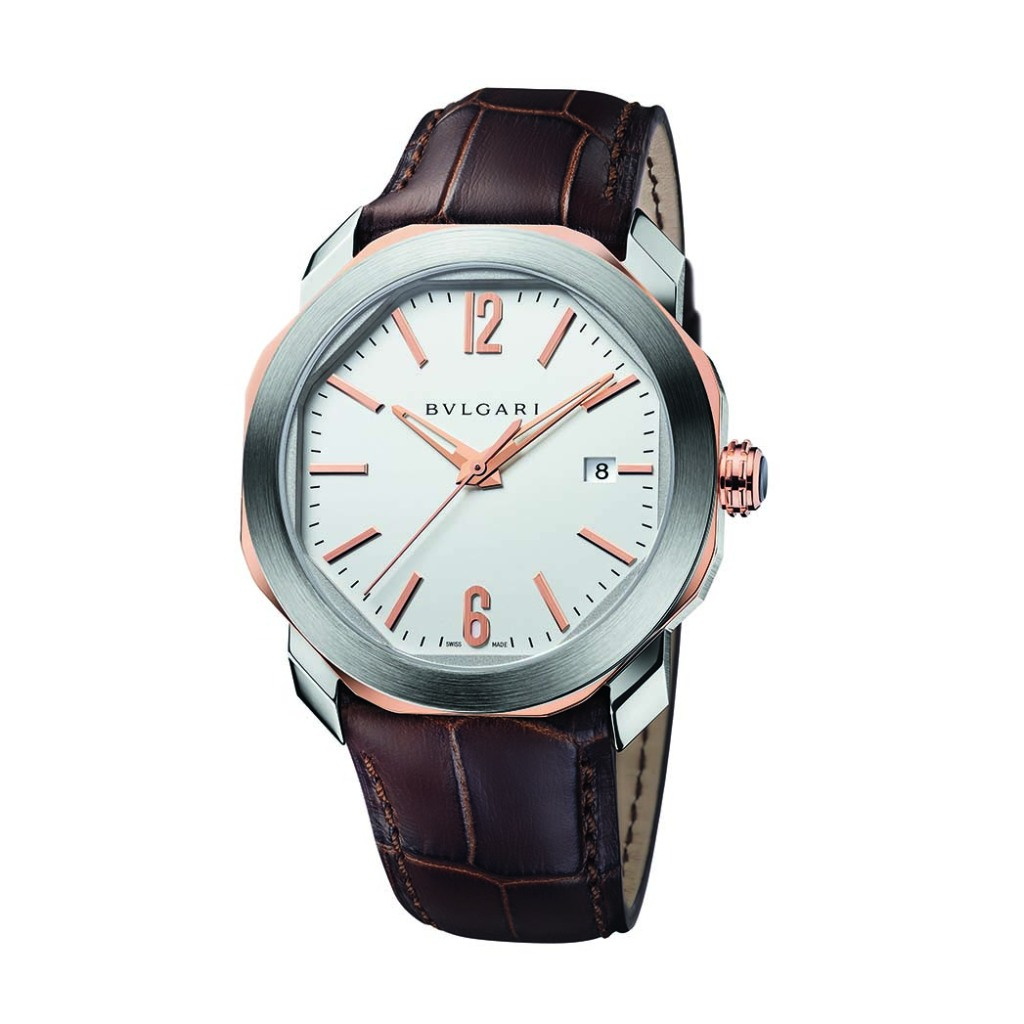 Bulgari Octo Roma watch in steel with pink gold detailing.