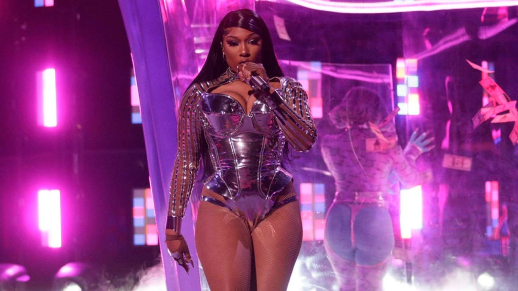 Megan Thee Stallion performing at THE 63rd ANNUAL GRAMMY AWARDS
