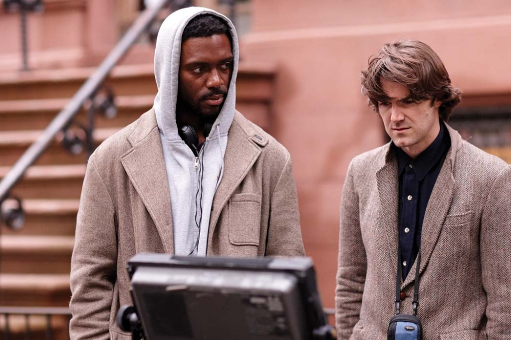 Shaka King (left) and producer Michael Matthews on the Brooklyn set of Newlyweeds.