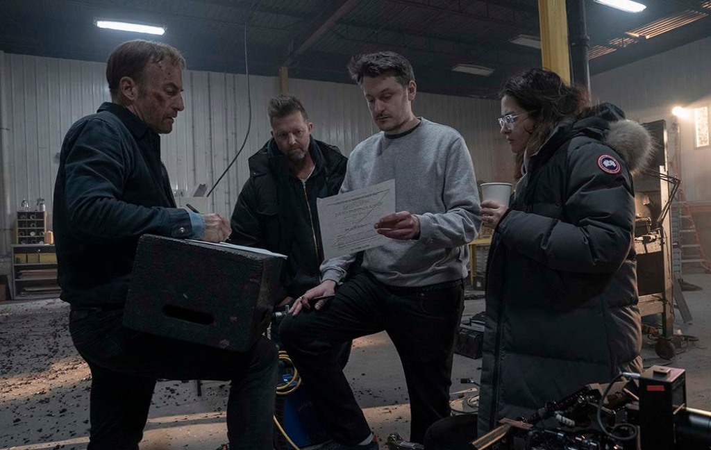 Bob Odenkirk, producer David Leitch, director Ilya Naishuller and producer Kelly McCormick on the set of Nobody.