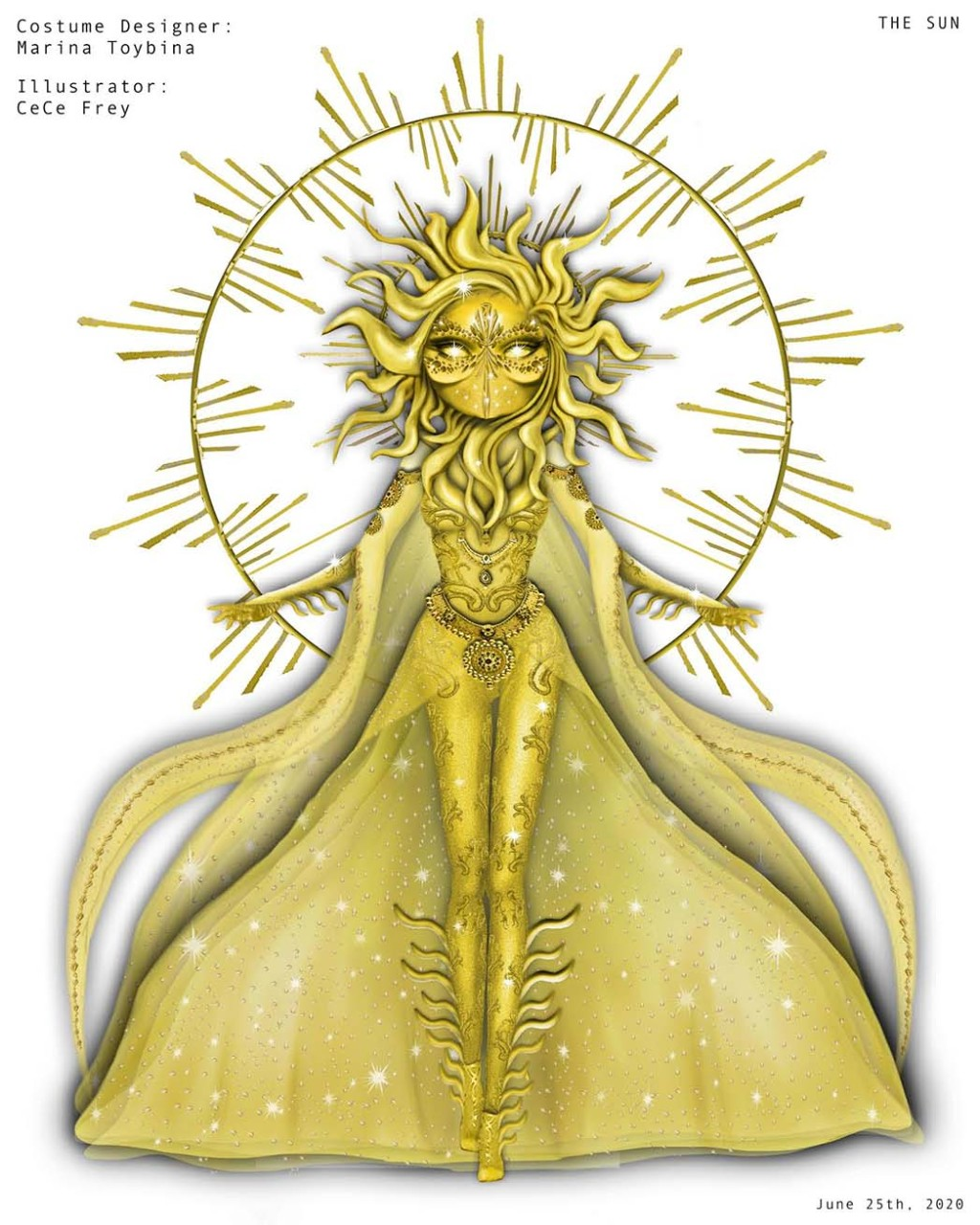 Sketch by illustrator CeCe Frey of costume designer Marina Toybina's design for The Sun on The Masked Singer .