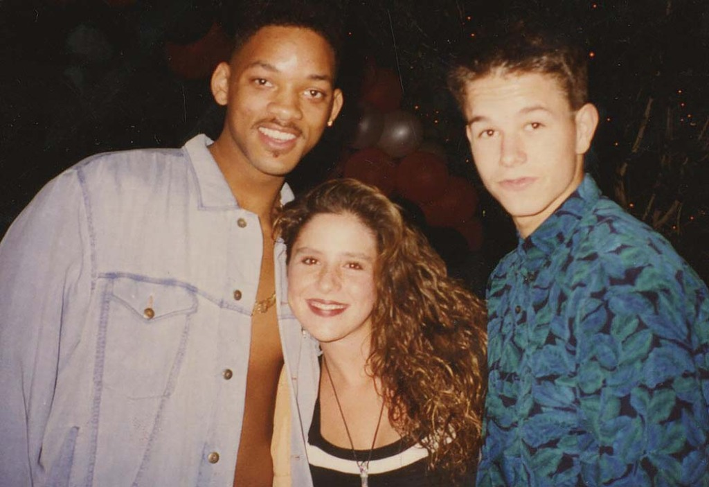 """With Will Smith (left) and Mark Wahlberg at an Emmy afterparty. """"I remember feeling on top of the world, so excited, and so crushed out on Mark,"""" she recalls. """"It was one of the happiest nights in my teen girl life."""" Later, Wahlberg visited her mother's Burbank home for an adventure that involved the two of them taking a cruise on her stepfather's motorcycle. """"It was a very dreamy ride on the motorcycle. I'm pretty sure Prince's 'Purple Rain' was playing in my head."""""""