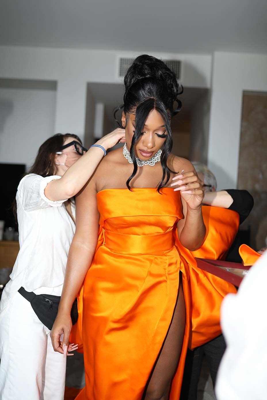 Megan Thee Stallion getting ready for the Grammy red carpet