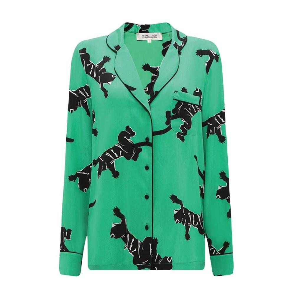 Diane von Furstenberg silk pajama top; $338, dvf.com
