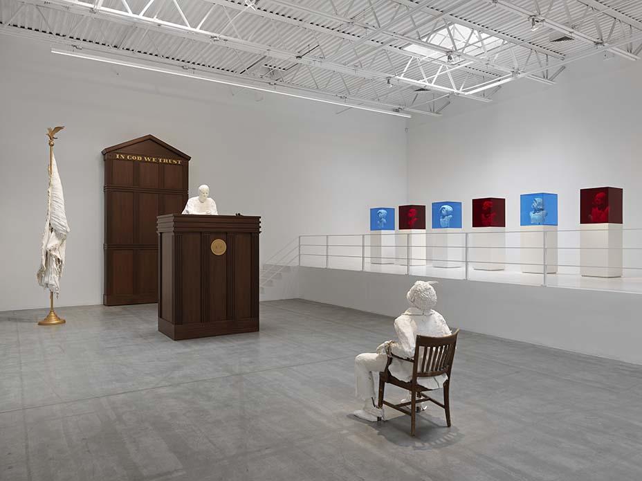 Installation views of Karon Davis' exhibition, No Good Deed Goes Unpunished, at Jeffrey Deitch, New York