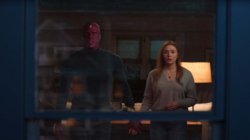 Paul Bettany as Vision and Elizabeth Olsen as Wanda Maximoff