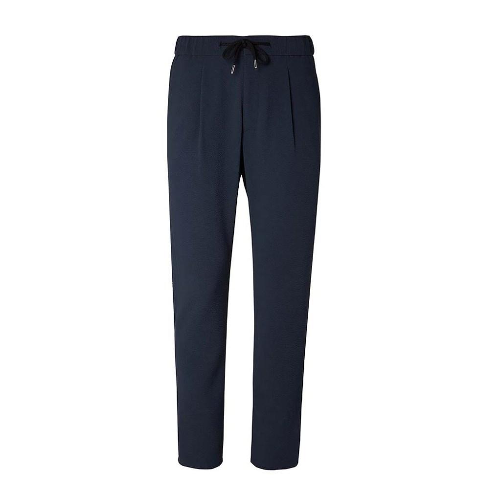 Giorgio Armani's tapered stretch-virgin wool seersucker drawstring trousers; $995, mrporter.com