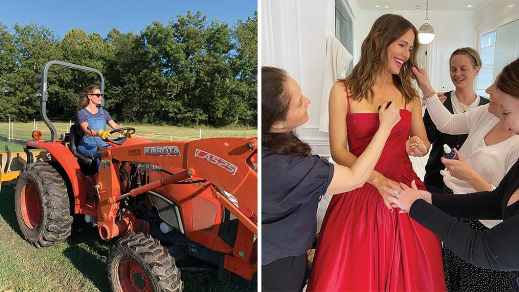 Garner prepping for an awards show (right) and at the family farm she now owns and uses for her kids' food company Once Upon a Farm (left), both images captured for her popular Instagramfeed, which makes a habit of demystifying the glamour of celebrity.
