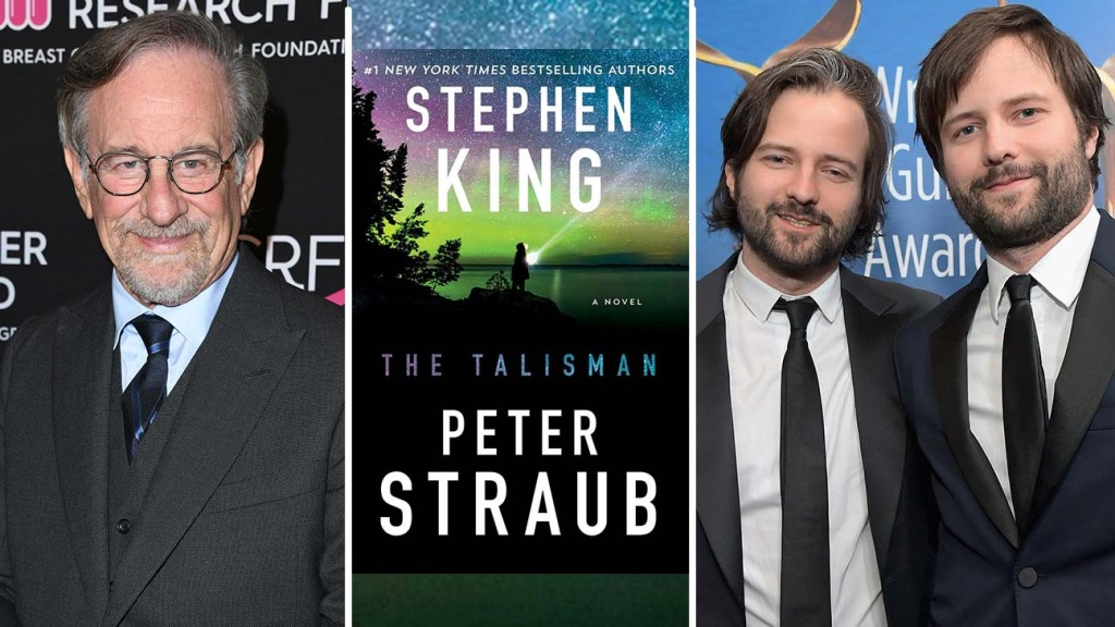 Steven Spielberg; 'The Talisman' book cover; and the Duffer brothers.