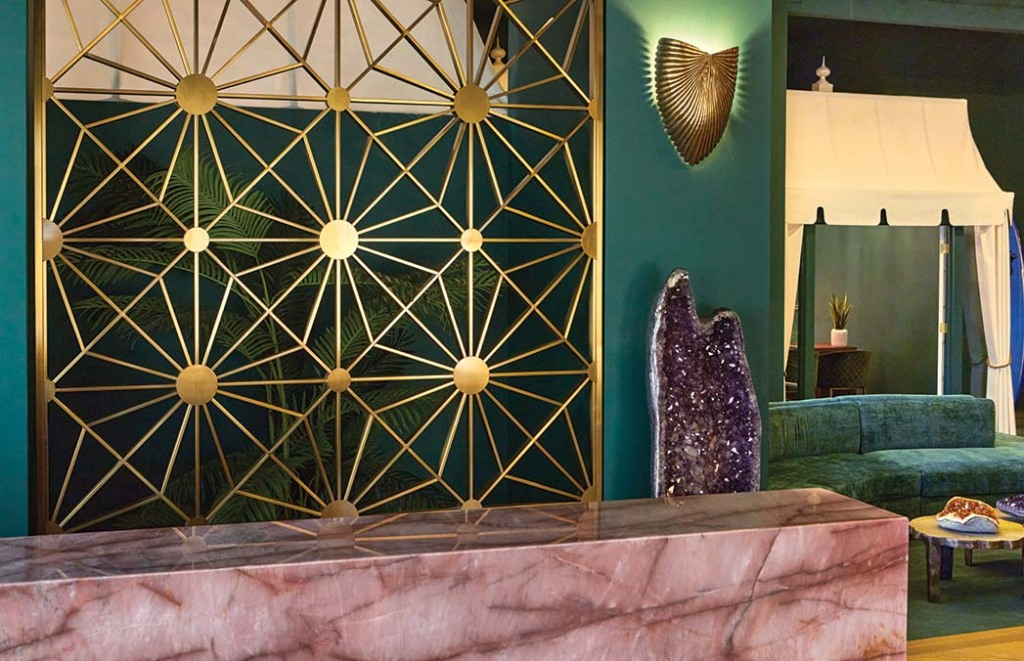The welcome desk and a cabana at the 7,000- square-foot Beverly Hills Estates on the Sunset Strip.
