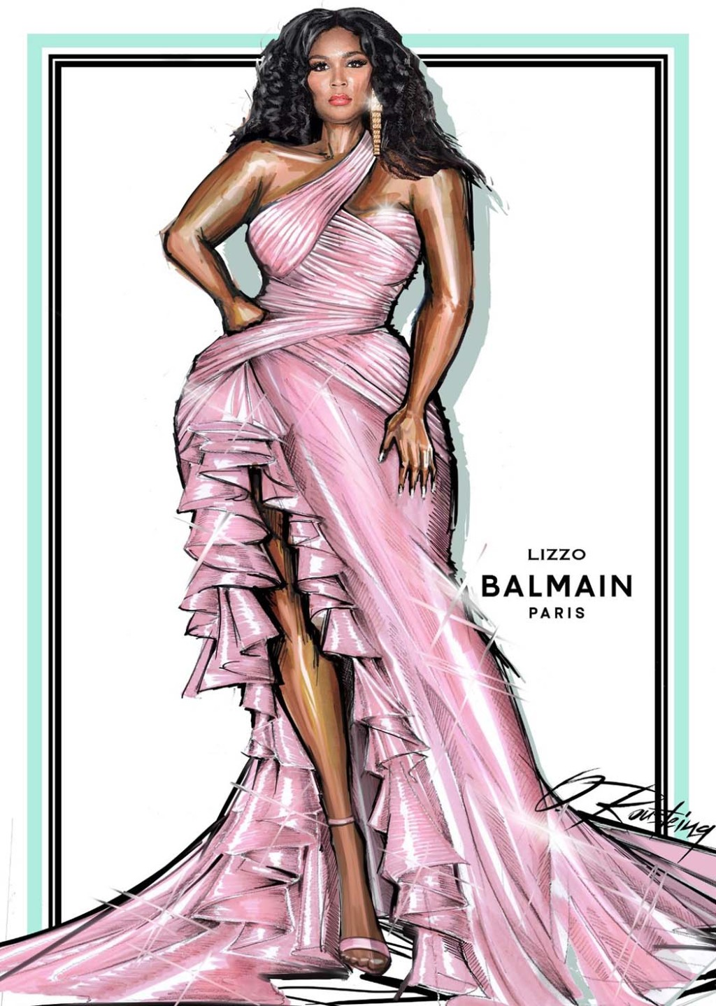 A sketch of the second outfit by Balmain, worn by Lizzo to present by the award for best new artist.