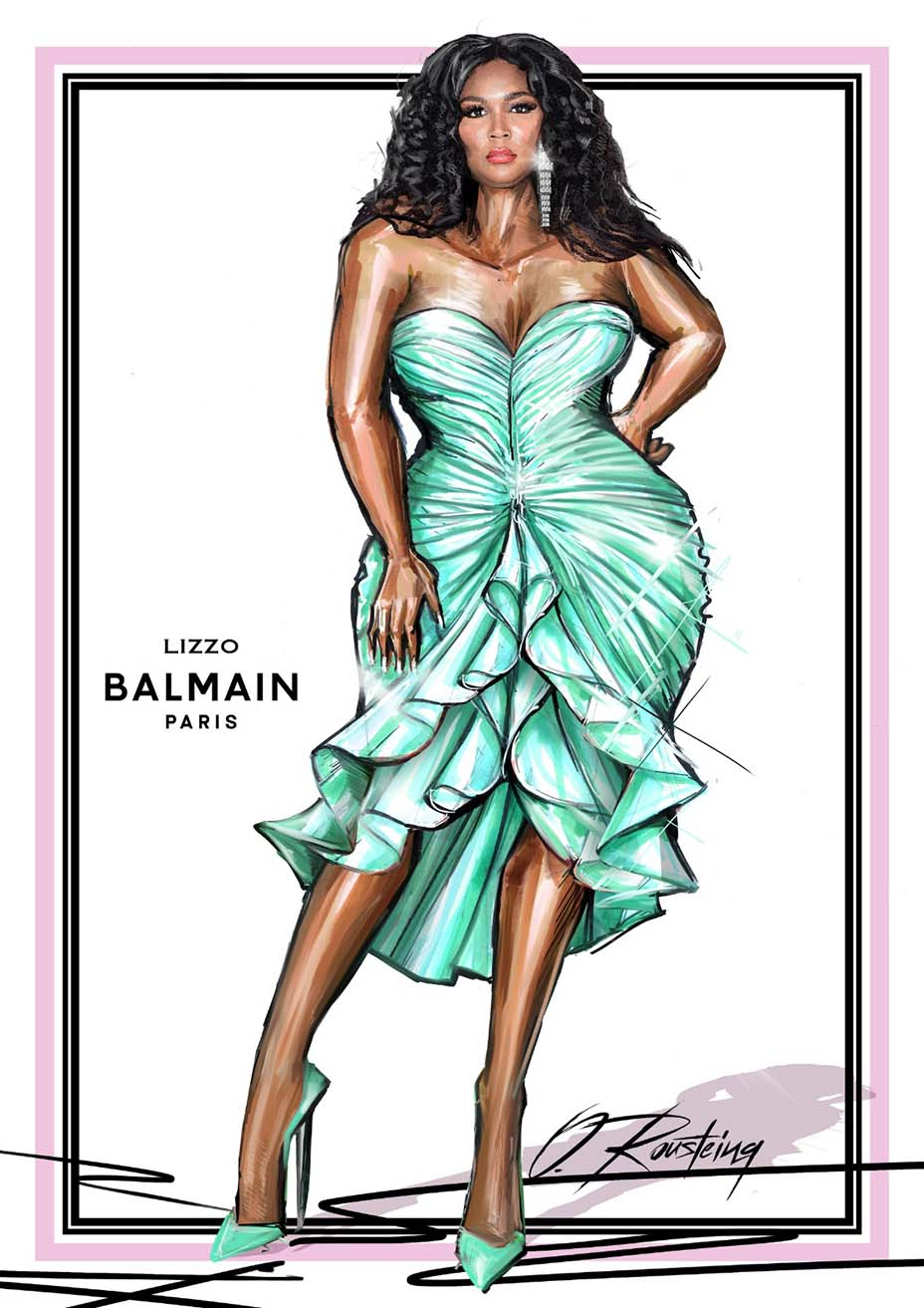 Balmain sketch of dress for Lizzo at the Grammy Awards