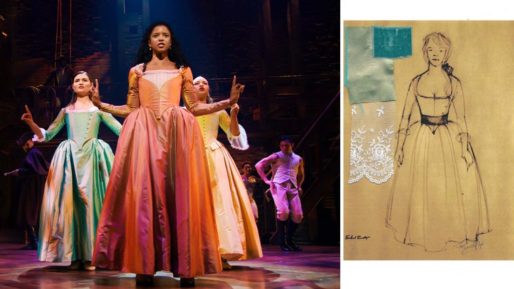 The Schuyler sisters, played by (from left), Phillipa Soo, Renée Elise Goldsberry and Jasmine Cephas Jones,in Hamilton ; Sketch by costume designer Paul Tazewell for the character of Eliza in Hamilton.