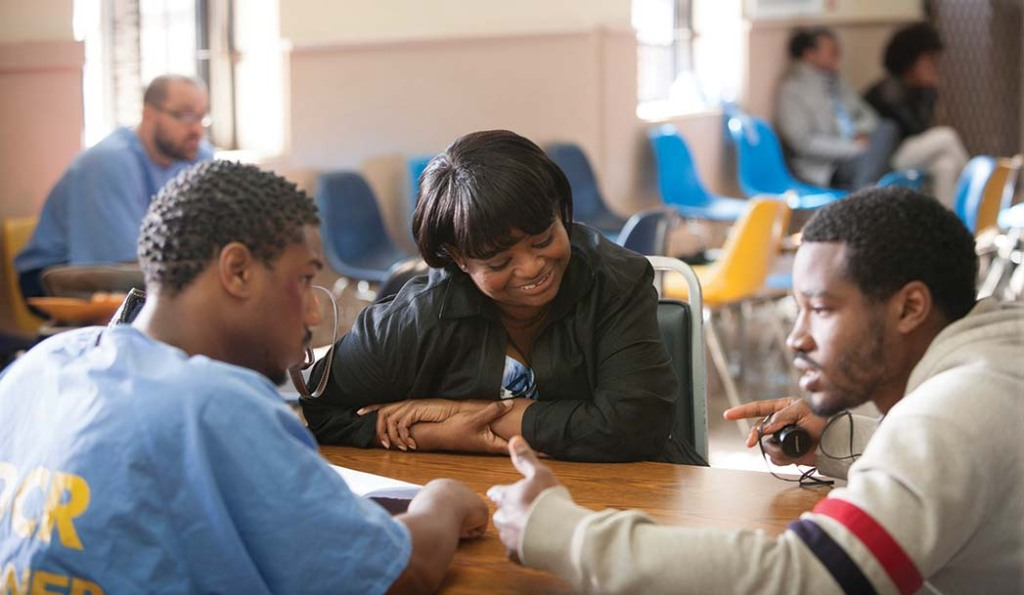 Jordan, Octavia Spencer and Coogler on the set of Fruitvale Station.