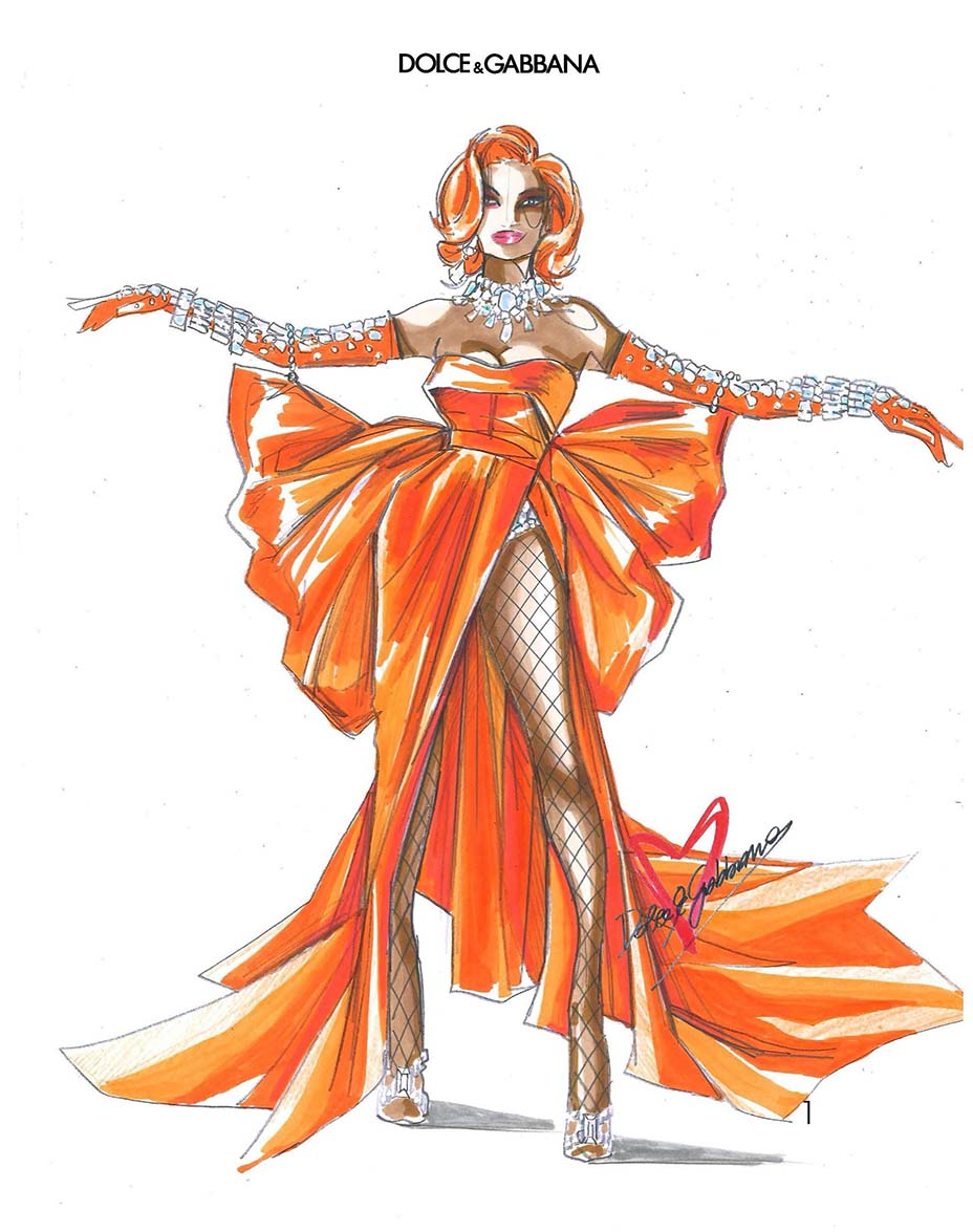 Sketch by Dolce & Gabbana of Megan Thee Stallion's Grammy red carpet look