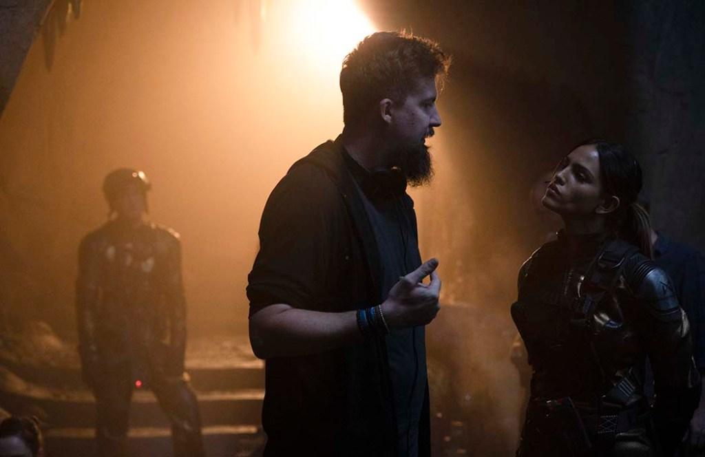 Godzilla vs. Kong - ADAM WINGARD and EIZA GONZÁLEZ on set