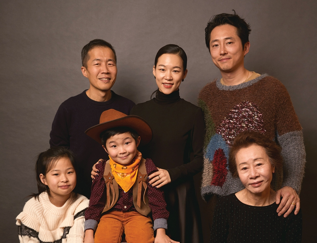 Lee Isaac Chung with actors Yeri Han, Steven Yeun, Youn, Alan S. Kim and Noel Kate Cho at the 2020 Sundance Film Festival.