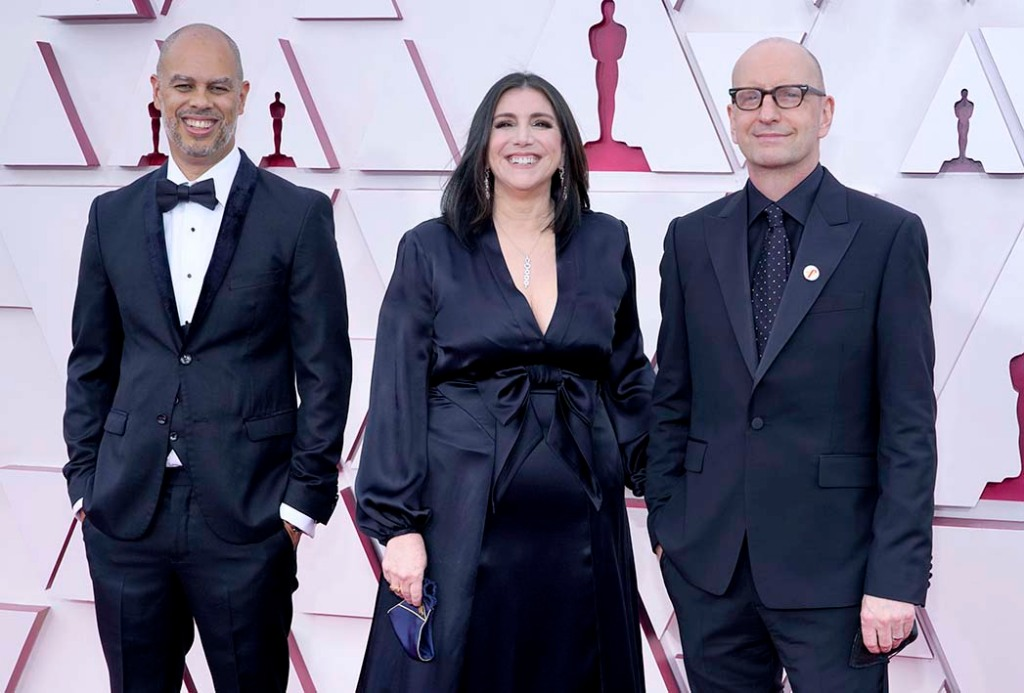 Jesse Collins, from left, Stacey Sher, and Steven Soderbergh